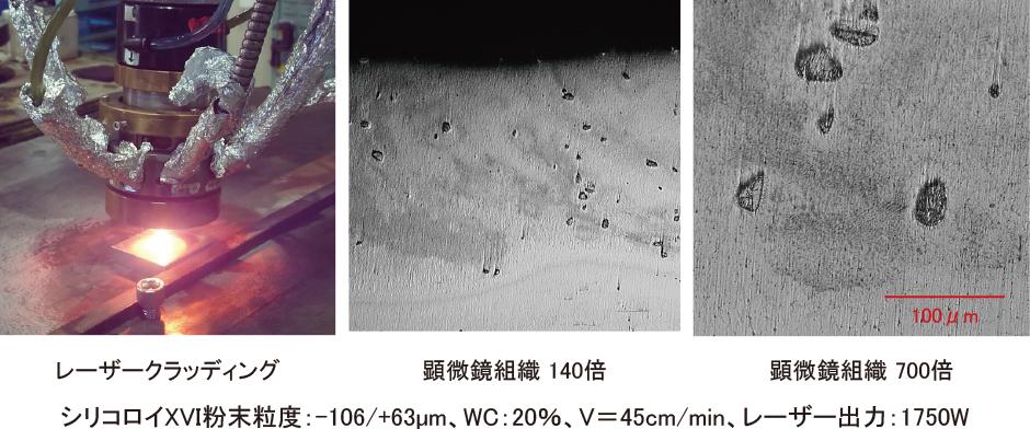 ◆レーザークラッディング(シリコロイXVI粉末+WC粉末) ◆WC粒⼦が混在することで耐摩耗性が向上